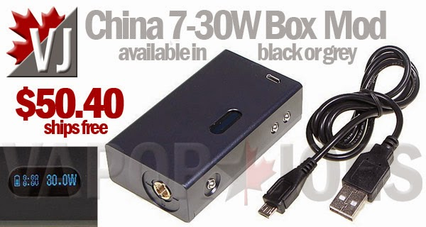 China 7-30W Box Mod in Black or Grey - takes 18650 Battery