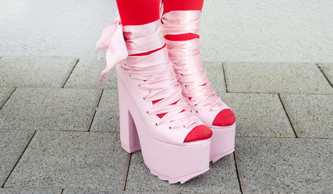 yru, bae, pink platform shoes