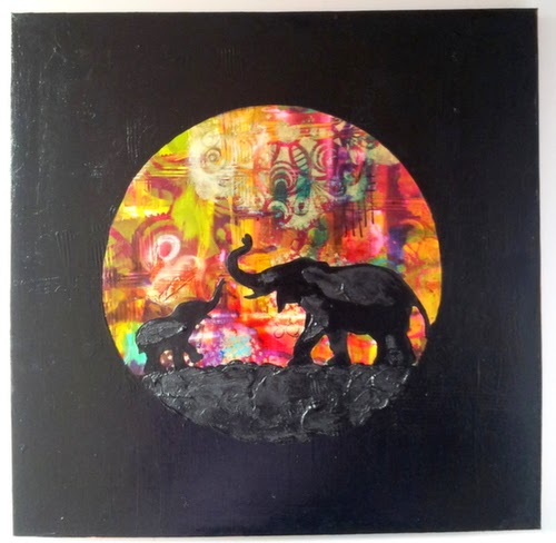 Carmen Wing - Mixed Media Elephants on canvas