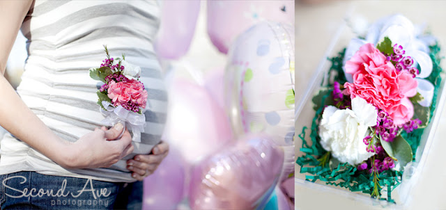 color, shades of pink, pink, preeclampsia, preemie, corsage, flowers, self portrait, maternity portrait, balloons, baby shower, Virginia photographer, photoblog, project 52,
