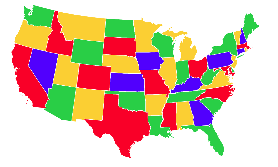 Map Of Us Color - Colored usa map