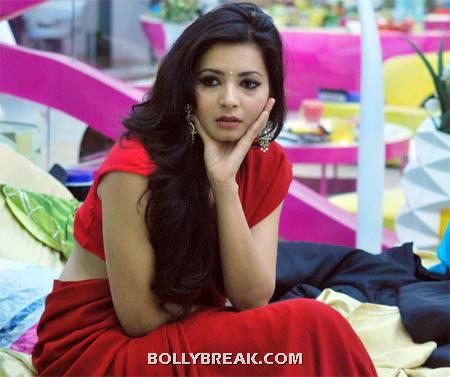 Shonali Nagrani in Red Saree in Bigg Boss - Shonali Nagrani Bigg Boss 5 Hot Pics