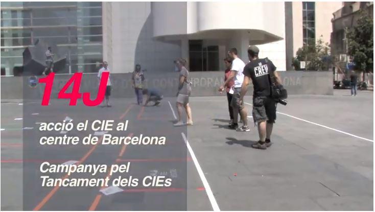 Acció el CIE al centre de Barcelona, juny 2014