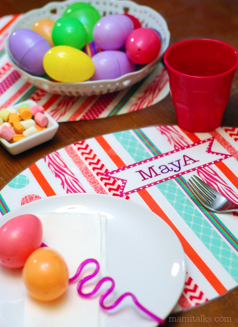 Easter table set with egg placemats made out of washi tape