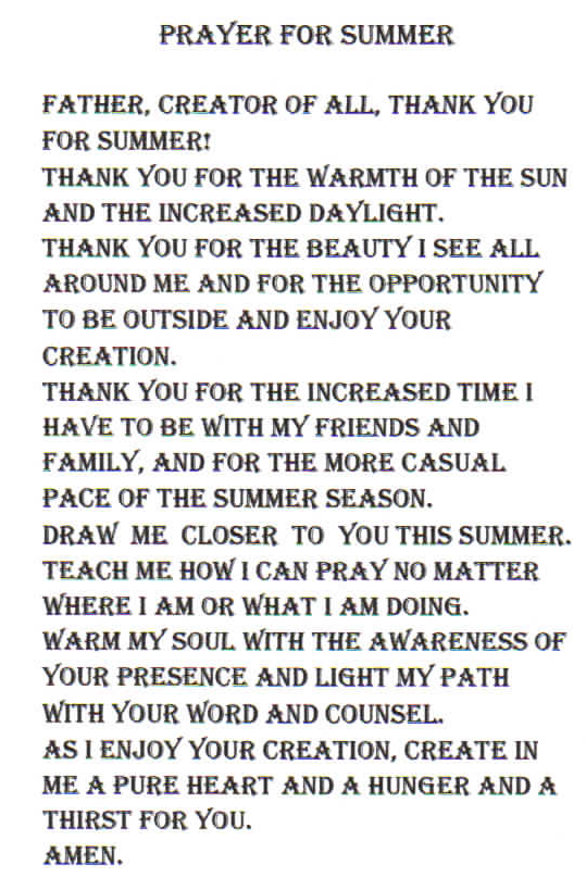 Image result for summer prayer