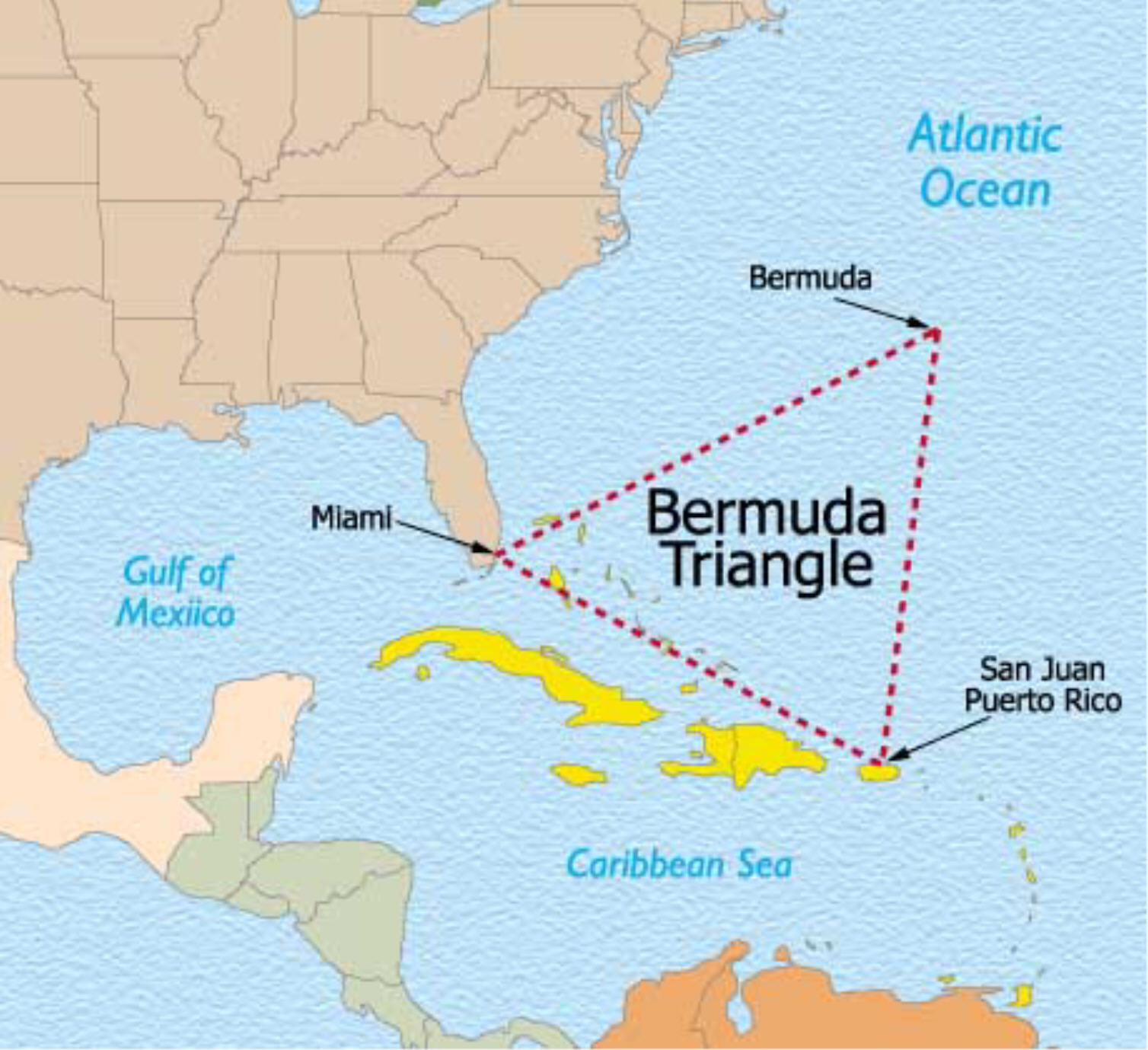 the characteristics of the bermuda triangle a mysterious place in the atlantic ocean Abc news features  as the search for mh370 remains active in the indian sea,  this weekend's  the area known as the bermuda triangle between the years of  1945 and 1970,  the mystery was exacerbated by the fact that no distress  signals were  us sanctions have a weak spot: tiny allies like latvia.