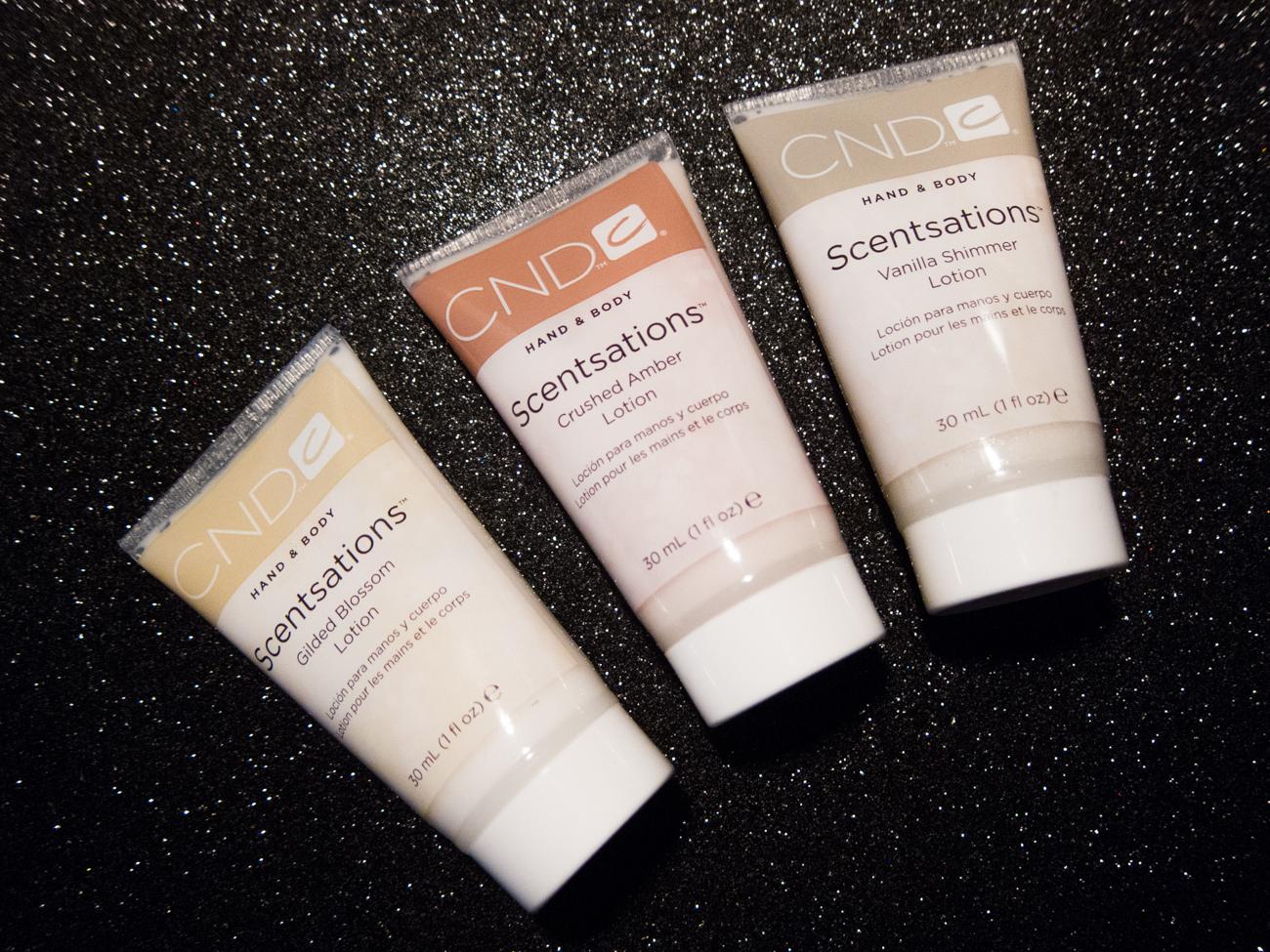 CND Scentsations Gilded Dreams lotion trio via @chalkboardnails