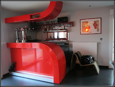 bar fait maison placo rouge vernis