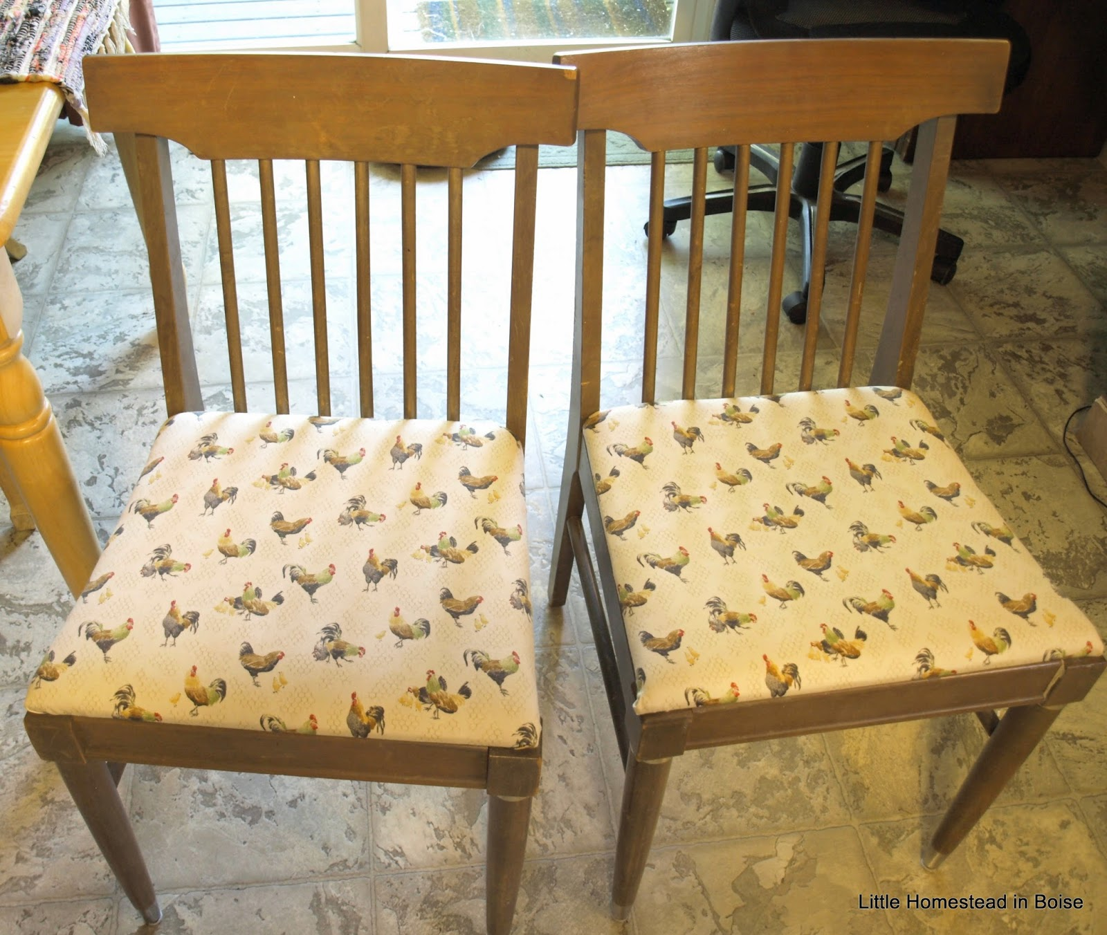 I Needed The Chairs For Seating Asap, So I Cleaned Them Up. I Also Added  Chicken Fabric :) Not Too Bad