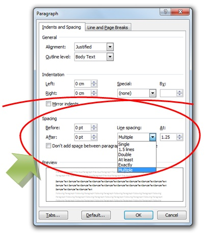 gambar dialog paragraph microsoft word untuk mengatur spasi paragraf