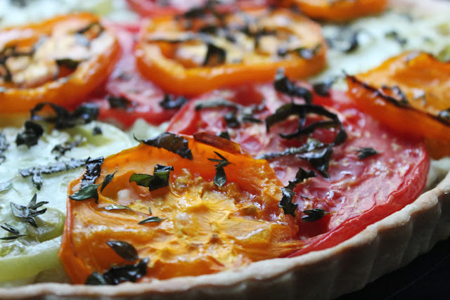Heirloom tomato and goat cheese tart