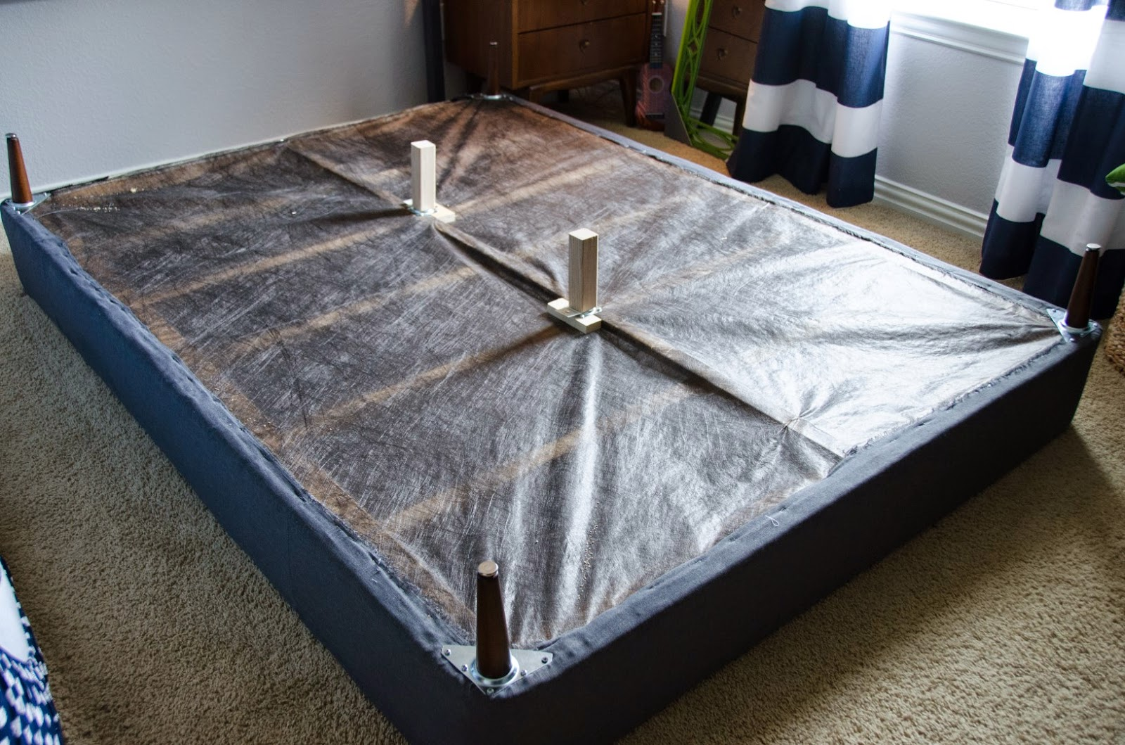 craftyc0rn3r converting a box spring into a platform bed. Black Bedroom Furniture Sets. Home Design Ideas