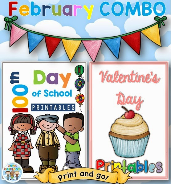 February COMBO 100th Day of School and Valentine's Day Printables