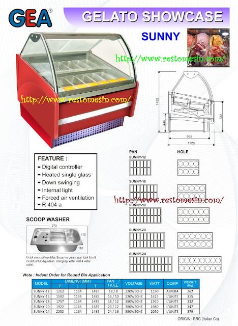 GEA Ice Cream Gelato Sunny Showcase Display tersedia dalam berbagai