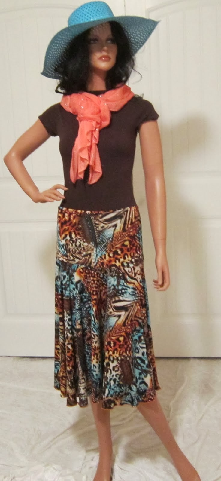 Orange and Turqouise Abstract Animal Print Full Stretch Knit Jersey Circle Skirt