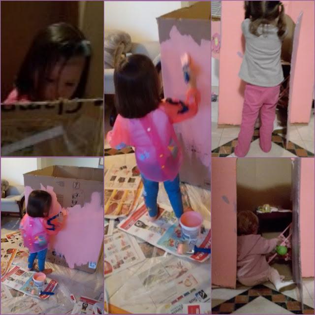 DIY, faça você mesmo uma casa de bonecas de papelão. Casita de muñecas de caja de papel. Paper doll house.