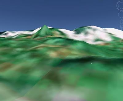 Cerros de donde nace el río Tioyacu (Imagen de Google Earth)