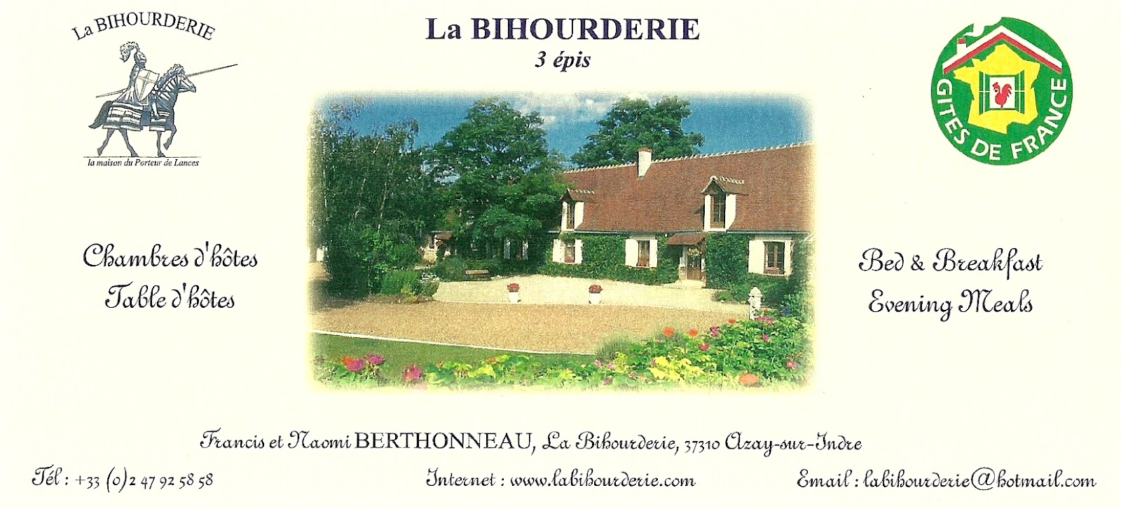 The traveler 39 s drawer la bihourderie chambres d 39 h tes for Chambre agriculture indre et loire