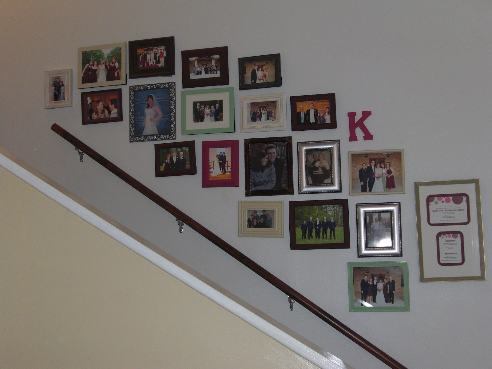 Everyday adventures these walls can talk it only took like a year for me to gather a bazillion mis matched frames from hobby lobby and goodwill paint them various wedding colors and select which jeuxipadfo Image collections