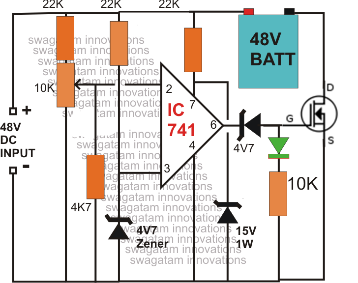 make this 48v automatic battery charger circuit electronic the above circuit can be upgraded into an over charge cut off as well as low charge restoring battery charger system for charging 48v batteries