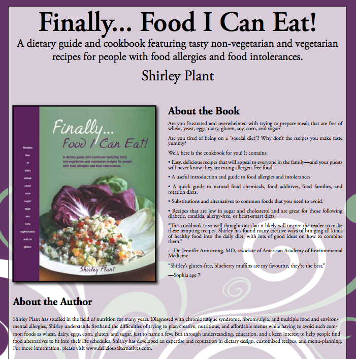 Foodallergytalk i am pleased to present you with two wonderful recipes from shirley plants cookbook finally food i can eat i have not seen many allergy free recipe forumfinder Images