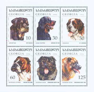 1997年グルジア ロットワイラー ゴードン・セター セント・バーナード ブルドッグ コーカサス・シープドッグ コーカサス・シープドッグの切手シート