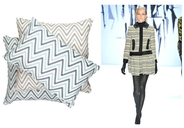 Right: Nbaynadamas Circle Chevron linen pillows. Right: A cute classic suit with a zig zag of its own from the Milly runway show