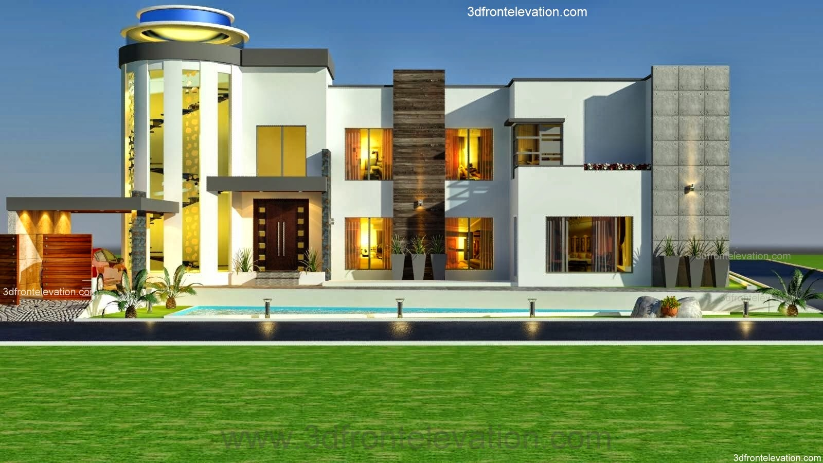 3D Front 3 Kanal Modern Contemporary House