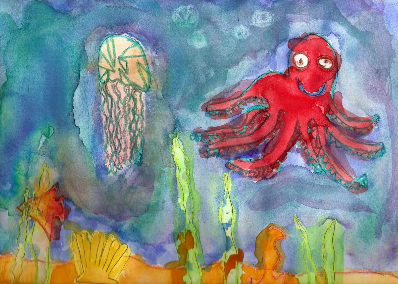 The Elemental Art Room: More Underwater Scenes: Watercolor ...