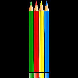 lapices de colores azul, rojo, amarillo y verde
