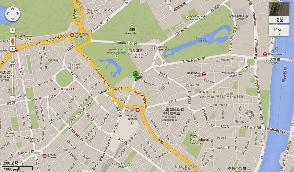 倫敦白金漢宮住宅公寓地圖