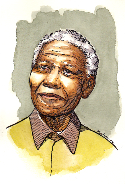 how to draw nelson mandela cartoon