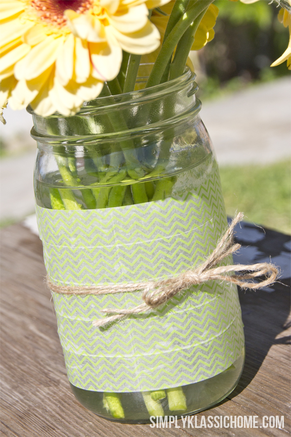Easy Diy Washi Tape Mason Jar Vase A Spring Linky Party