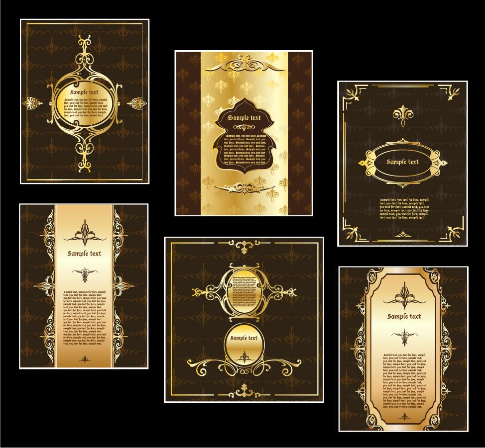 金色に輝く豪華なラベル見本 european gorgeous label vector イラスト素材2