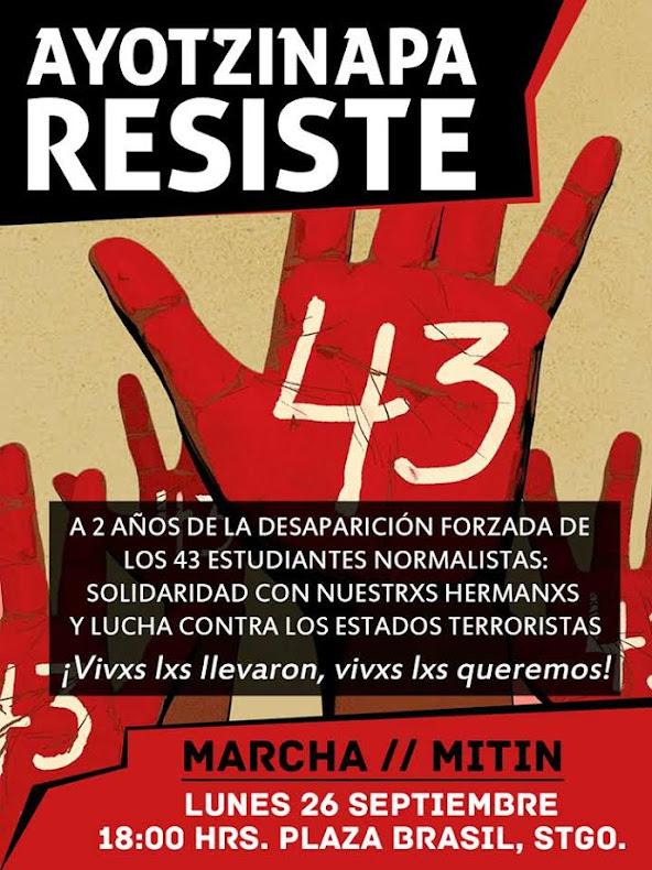 SANTIAGO: MARCHA MITIN, AYOTZINAPA RESISTE