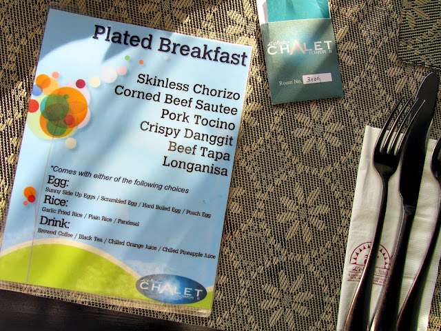 Breakfast Menu of L'Fisher Chalet
