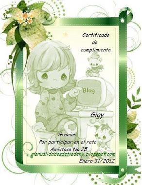 2do Certificado Reto amistoso # 25 de la Tía Deny