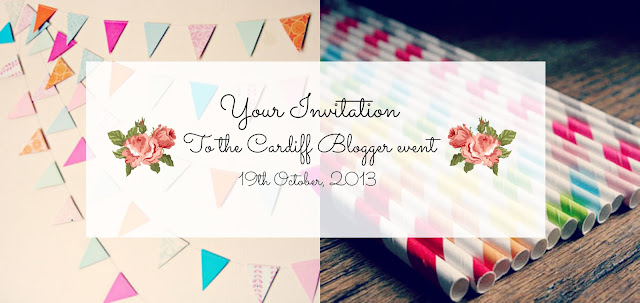 Cardiff blogger event invitation with bunting