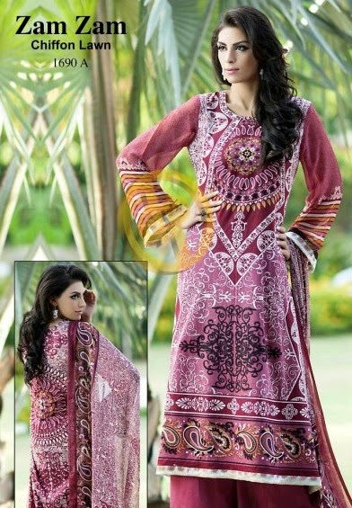 DawoodLawnsCollection2014 wwwfashionhuntworldblogspotcom 01 - Dawood Textiles Zam Zam Chiffon Lawn Collection 2014