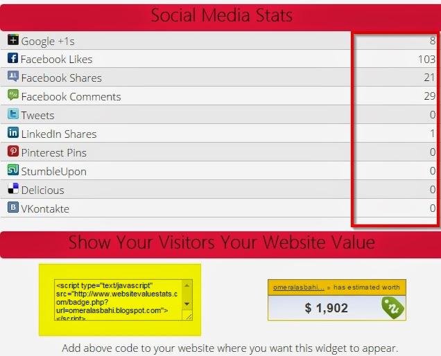 موقع websitevaluestats لتحديد سعر الموقع الخاص بك