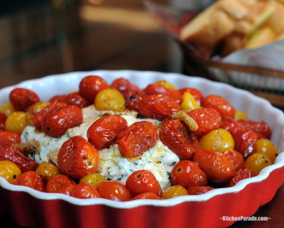 Herbed Ricotta with Roasted Cherry Tomatoes, a quick summer appetizer, warm ricotta topped with roasted cherry tomatoes. Scrumptious!