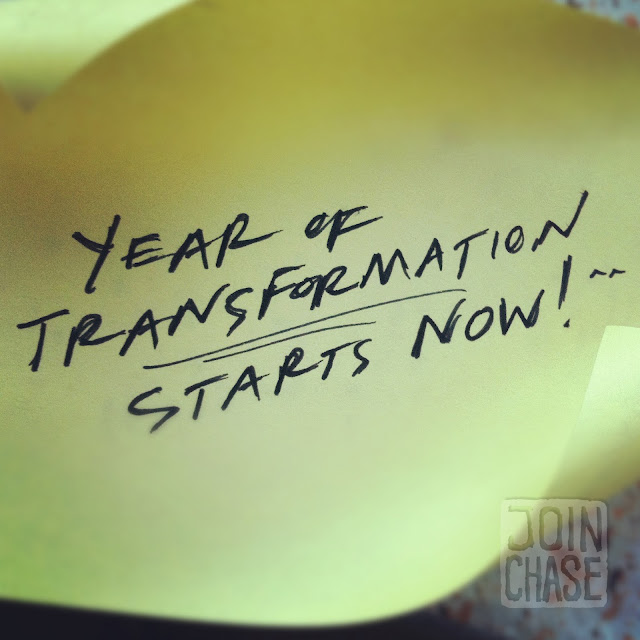 """A handwritten note that says, """"Year of transformation starts now."""""""