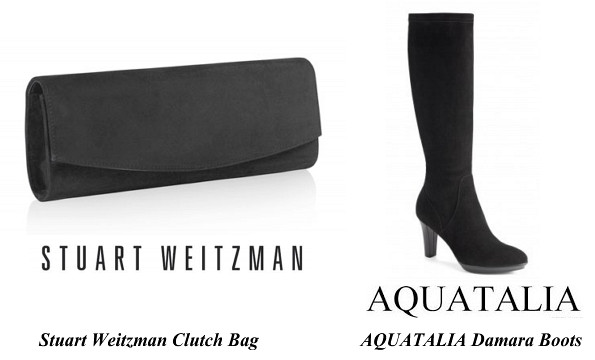 Duchess Of Cambridge's Stuart Weitzman Clutch Bag And AQUATALIA Damara Boots