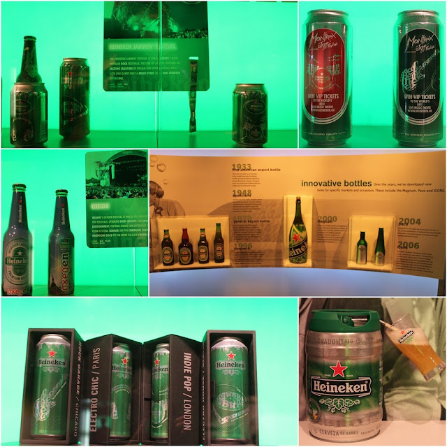Different design for Heineken can, bottle and Keg for different marketing campaigns were exhibited at Heineken Experience Museum in Amsterdam, Netherlands