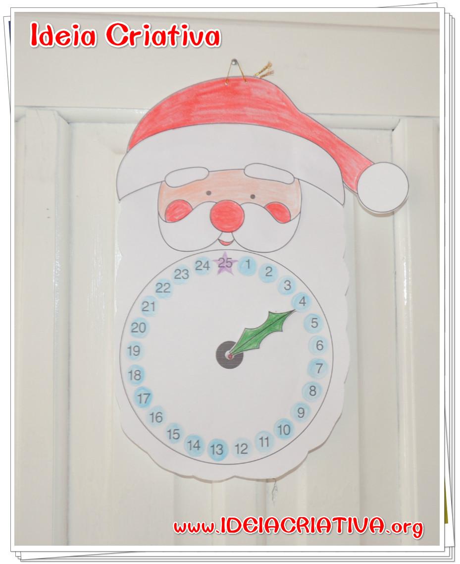Calendário Papai Noel Esperando o Natal para Imprimir Colorir e Montar