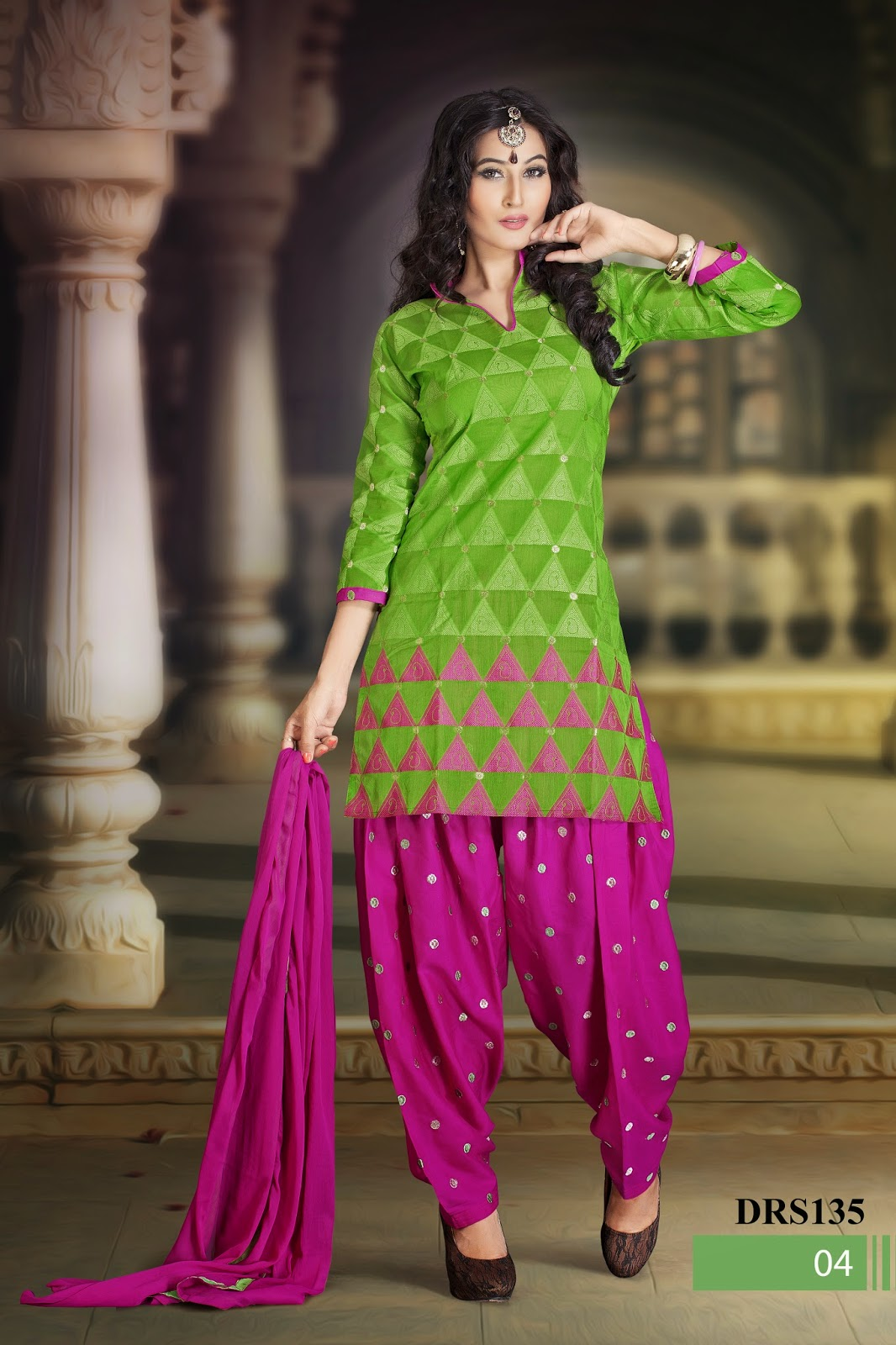 Embroidered patiyala style dress material online helix for Wedding dress material online