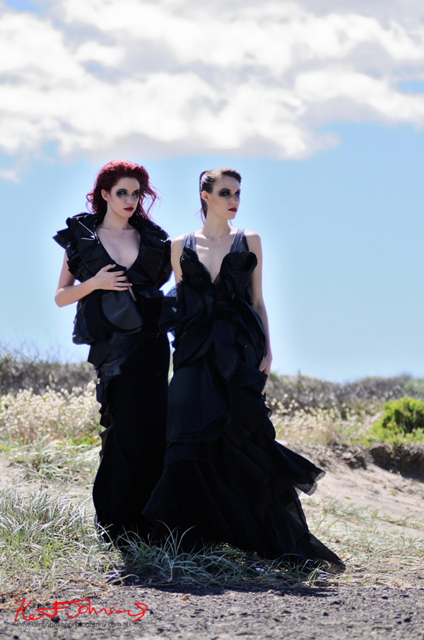 Bianca Linton, Melinda Johns, High Fashion black dresses, Landscape and Fashion on location Sydney Australia.