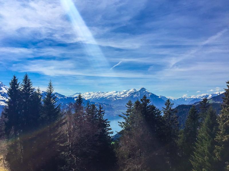 beautiful scenery from hiking up  Harder Klum in Interlaken Switzerland on a sunny day
