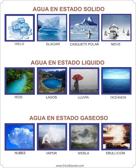 Ejemplos de los estados físicos del agua para imprimir.