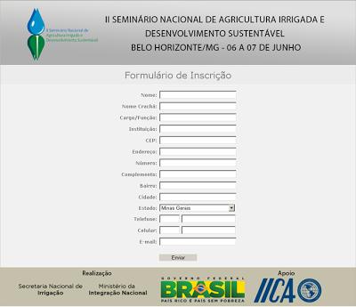 Formulário de Inscrição: II Seminário Nacional de Agricultura Irrigada e Desenvolvimento Sustentável